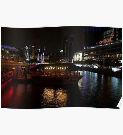 Boats moored at Clarke Quay in Singapore Poster