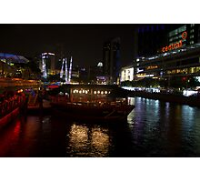 Boats moored at Clarke Quay in Singapore Photographic Print