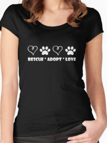 Rescue * Adopt * Love Women's Fitted Scoop T-Shirt