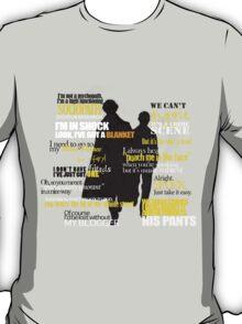 Sherlock and John quotes (Yellow font) T-Shirt