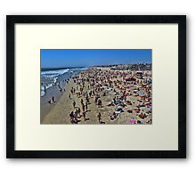 A high res photo on the day of the surfing final Aug 5, 2012 view north from pier.   Framed Print