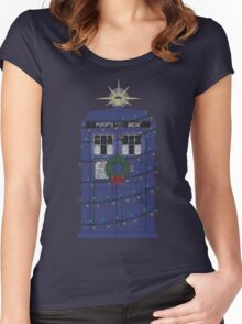 Police Box Christmas Knit Women's Fitted Scoop T-Shirt