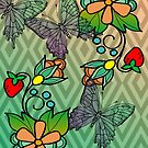 Modern Ojibwe floral and butterflys by mylittlenative