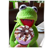 Frog Kermit Eat Ice Hunger Poster