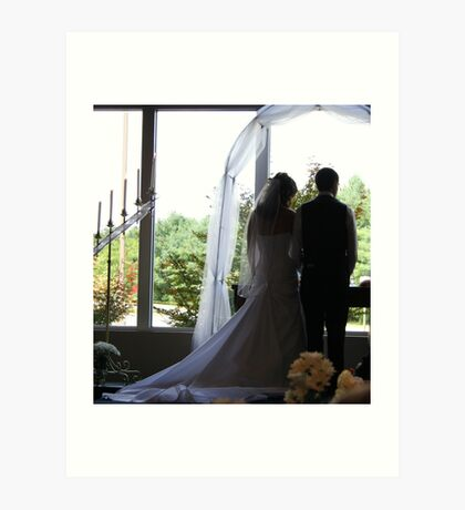 Wedding Bridge Groom Silhouette Art Print