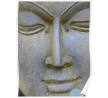 Face Stone Head Sculpture Asia Poster