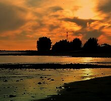Red sunset over Dutch river by Nicole W.