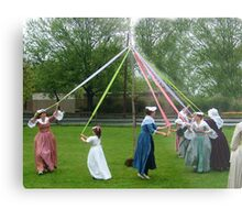 Weaving The Ribbon Of The May Pole Metal Print