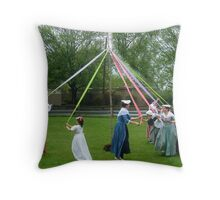Weaving The Ribbon Of The May Pole Throw Pillow