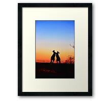 Sunset Serenade Pair of Kangaroos Australian Icon Framed Print