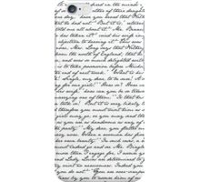 Pride and Prejudice 1st Chapter Handwriting -White iPhone Case/Skin