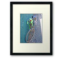 Bike Old Cycling Frog Kermit Framed Print
