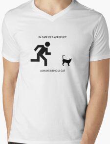 In case of emergency - always bring a cat Mens V-Neck T-Shirt