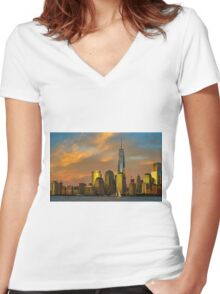 Sunset from Liberty Park Women's Fitted V-Neck T-Shirt