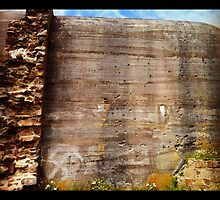 Bullet-ridden Wall, Fort Hommet by tonylawrence