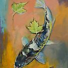 Koi with Japanese Maple Leaves by Michael Creese
