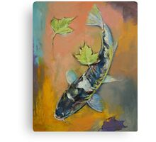 Koi with Japanese Maple Leaves Canvas Print