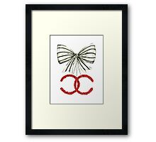 Red Christmas Bow - Watercolor Fashion Illustration  Framed Print