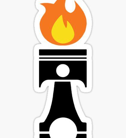 Flaming Piston (fire black) Sticker