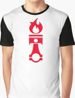 Flaming Piston (red) Graphic T-Shirt
