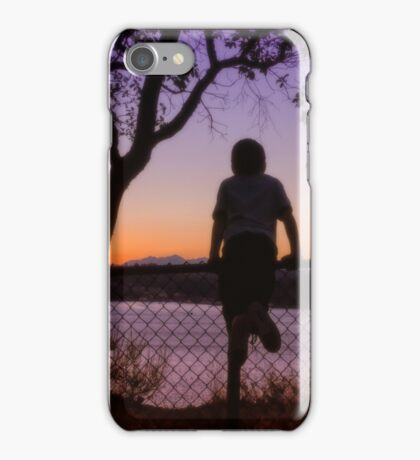 Boy Viewing Sunset On The Puget Sound iPhone Case/Skin