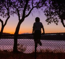 Boy Viewing Sunset On The Puget Sound by Jason Butts