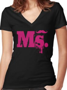 Ms. Mustache2 Women's Fitted V-Neck T-Shirt