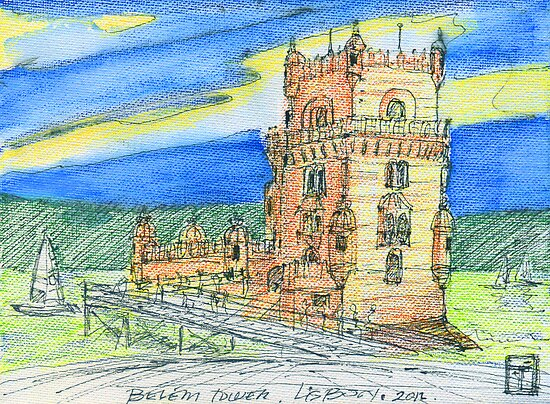 Belém Tower skecth on canvas by terezadelpilar~ art & architecture