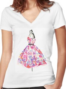 Floral Dress - Watercolor Fashion Illustration  Women's Fitted V-Neck T-Shirt