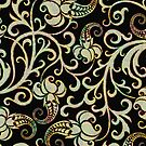 Black And Pastel Colors Retro Floral Pattern by artonwear