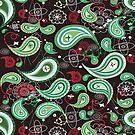 Black And Green Retro Paisley Pattern by artonwear