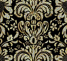 Black Gold & Diamonds Pattern Look Vintage Damasks by artonwear