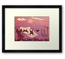 Laundry day, watercolor Framed Print