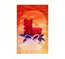 Christmas red candles, watercolor Art Print