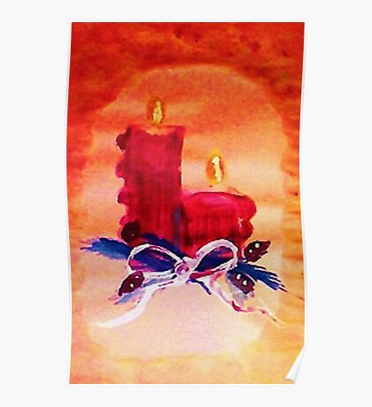 Christmas red candles, watercolor Poster