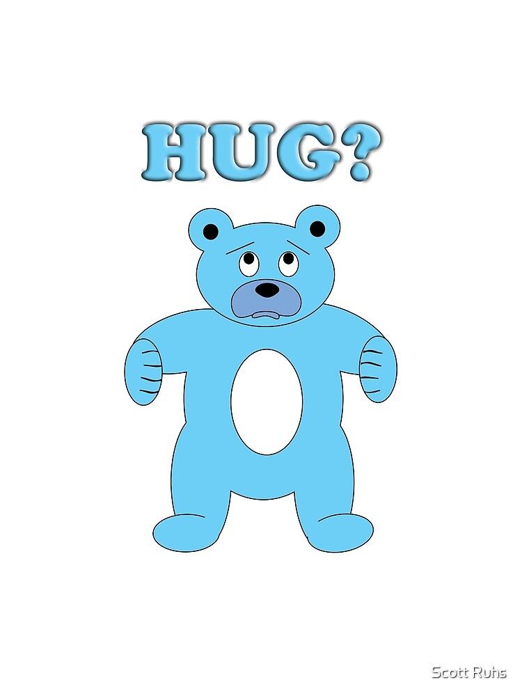 Sad Blue Bear - Hug? by Scott Ruhs