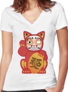 Lucky Daruma Doll Cat Women's Fitted V-Neck T-Shirt