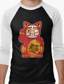 Lucky Daruma Doll Cat Men's Baseball ¾ T-Shirt