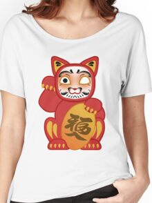 Lucky Daruma Doll Cat Women's Relaxed Fit T-Shirt