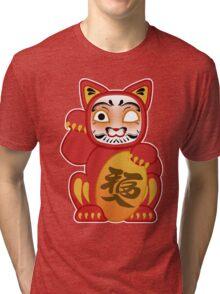 Lucky Daruma Doll Cat Tri-blend T-Shirt