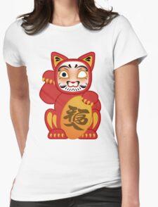 Lucky Daruma Doll Cat Womens Fitted T-Shirt