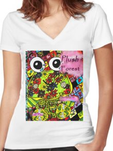 Plush forest coloring book cover Women's Fitted V-Neck T-Shirt