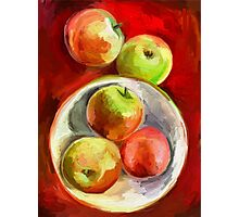 Apples on a Red Platter Photographic Print
