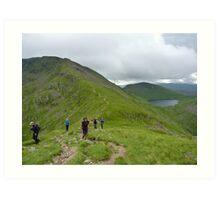 Young Walkers - Lake District, Cumbria Art Print