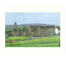 Reeth Chapel and Green, Swaledale Art Print