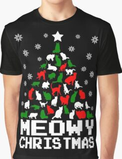 Meowy Christmas Cat Tree Graphic T-Shirt