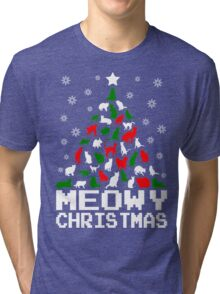 Meowy Christmas Cat Tree Tri-blend T-Shirt