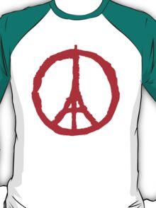 Paris Peace Symbol   Red T-Shirt