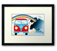 VW T1 van on the beach under rainbow Framed Print