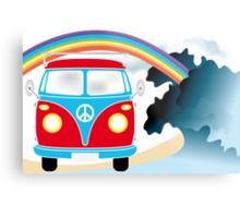 VW T1 van on the beach under rainbow Metal Print